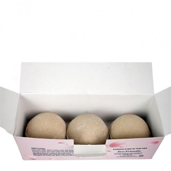 Ancient Clay Hydrating Bath Bombs with Rose & Bergamot Oil - 3 Bath Bombs Per Box image