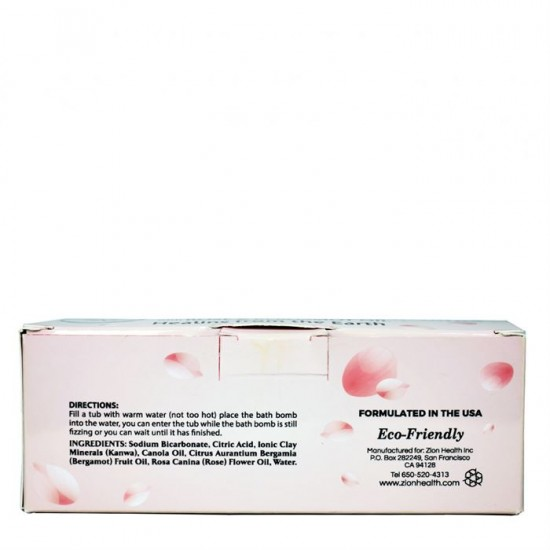 Ancient Clay Hydrating Bath Bombs with Rose & Bergamot Oil - 3 Bath Bombs Per Box image
