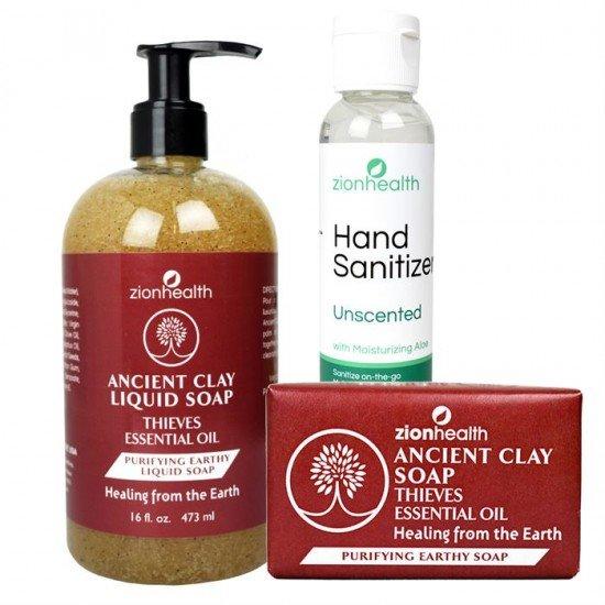 Minimize Risk Bundle (Liquid Soap 16oz. + Clay Soap 6oz. + Hand Sanitizer 2oz) image