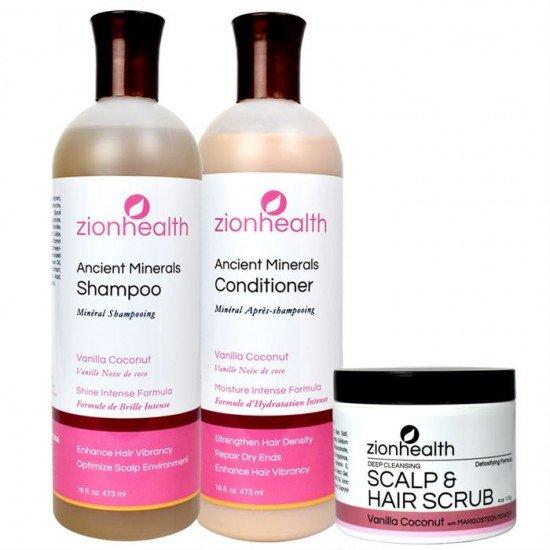 Tropical Blend Hair Bundle (Vanilla Coconut Shampoo 16oz. + Vanilla Coconut Conditioner 16oz. + Vanilla Coconut Scalp & Hair Scrub 4oz.) image