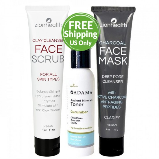 Pore Trouble Care Kit (Ancient Clay Face Scrub + Charcoal Face Mask + Ancient Minerals Cucumber Toner) image