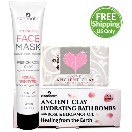 Quarantine Self Care Kit (Ancient Clay Vegan Soap Love + Ancient Clay Hydrating Bath Bombs (3 per box) + French Rose Clay Mask) image