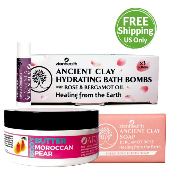 Mother's Day Bundle DELUXE (Elderberry Lip Balm + Bath Bombs + Bergamot Rose Clay Soap + Moroccan Pear Body Butter) image