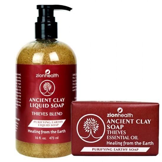 Thieves Blend Soap Combo (Liquid Soap 16oz. + Clay Soap 6oz.)