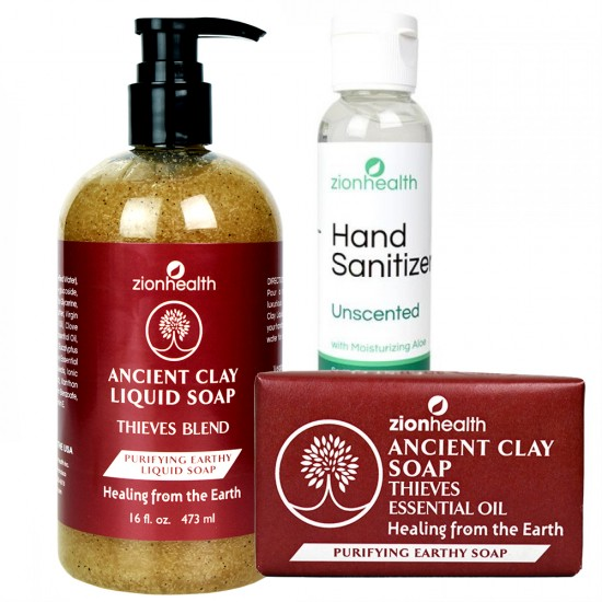 Minimize Risk Bundle (Liquid Soap 16oz. + Clay Soap 6oz. + Hand Sanitizer 2oz) image