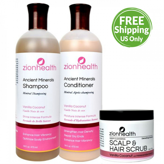 Tropical Blend Hair Bundle (Vanilla Coconut Shampoo 16oz. + Vanilla Coconut Conditioner 16oz. + Vanilla Coconut Scalp & Hair Scrub 4oz.) image