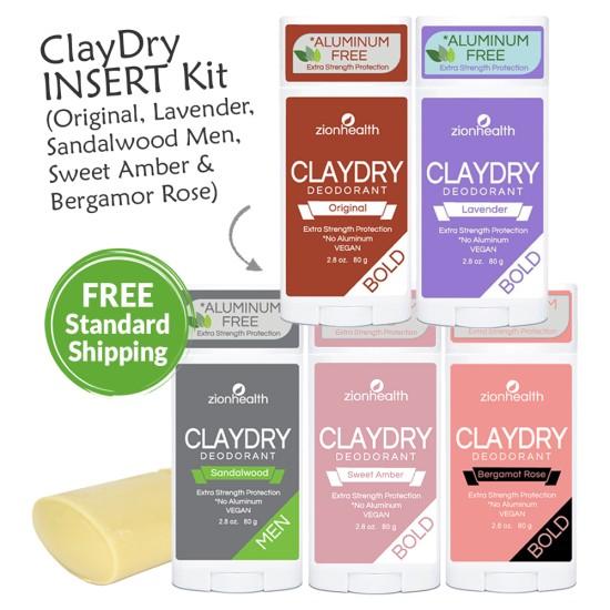 Clay Dry Deodorant Insert Kit (Lavender, Sandalwood Men, Original, Bergamot Rose and Sweet Amber) image