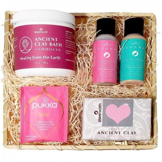 Goddess Love Bundle Gift Kit (Hibiscus Bath 12oz., Love Soap 6oz., Vanilla Coconut Shampoo & Conditioner 2oz., Pukka Tea) image