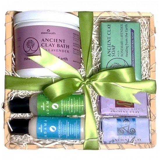 Stress Free Bundle Gift Kit (Lavender Clay Bath 12oz., Rosemary Lavender 6oz., Peach Jasmine Shampoo & Conditioner 2oz., Blue Sky 1oz., & Mountain Rain 1oz.) image