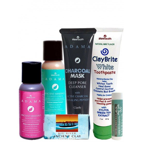 The Traveler Kit (Vanilla Coconut S&C 2oz + ClayBrite White 2oz + Charcoal Face Mask 2oz + Big River Soap 1oz + Coconut Bliss Lip Balm)